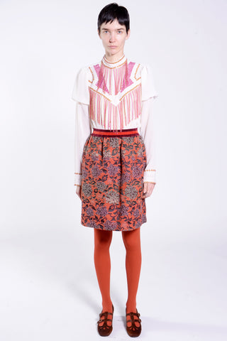 Gathering Geraniums Satin Pleated Skirt