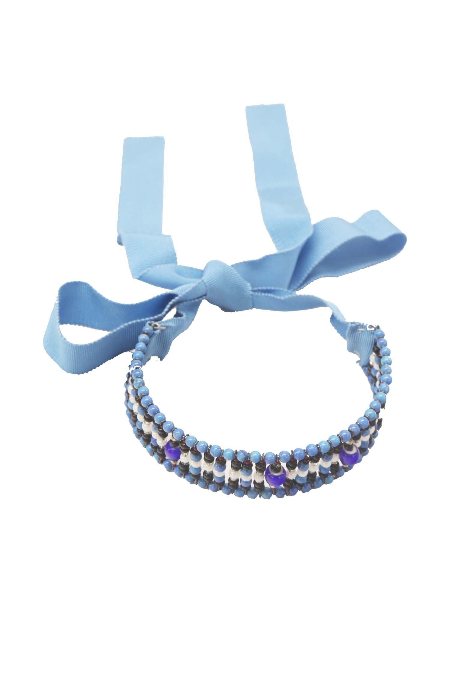 Erickson Beamon Light Blue Beaded Choker - Anna Sui