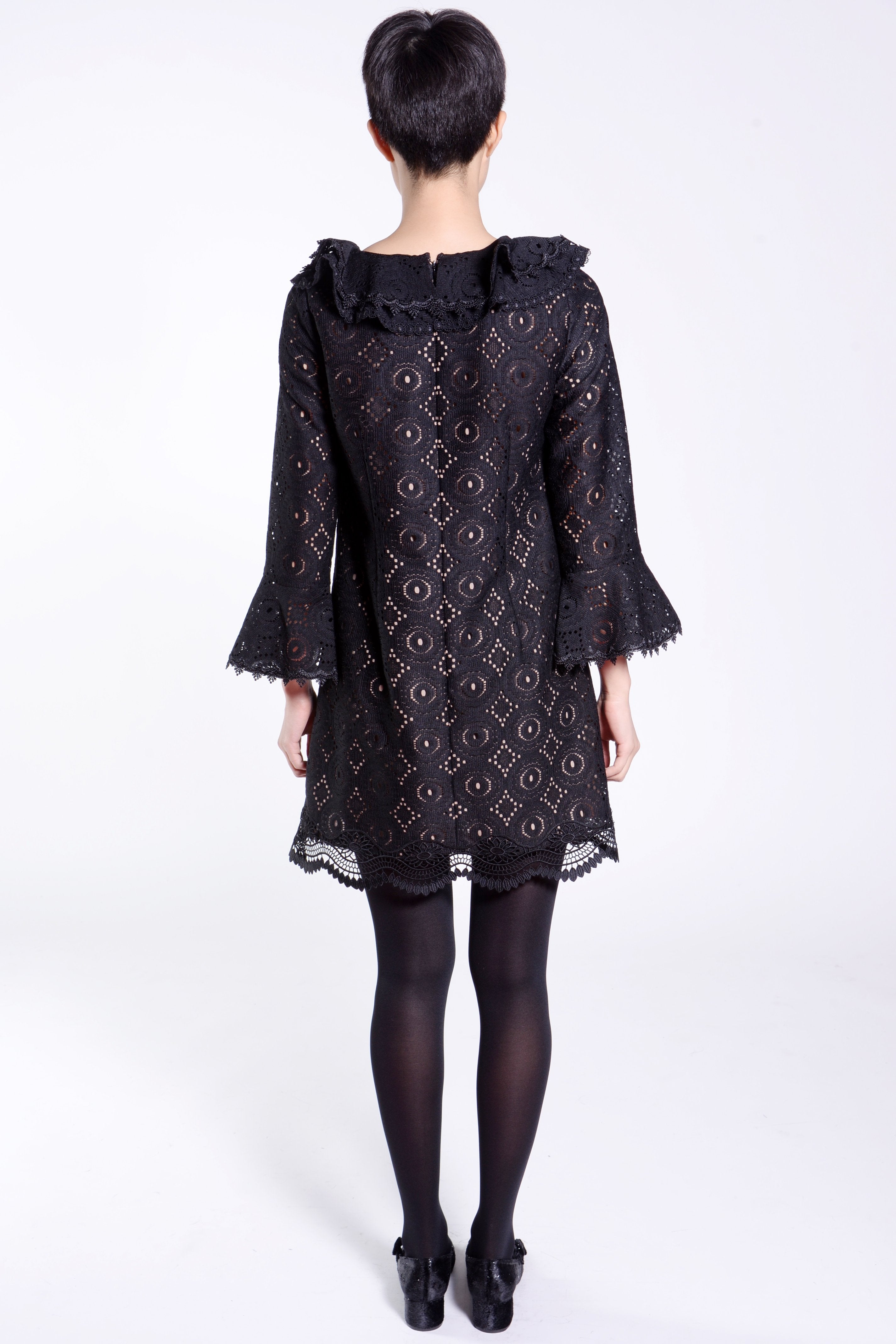 Deco Fleur Lace Ruffled Dress - Anna Sui