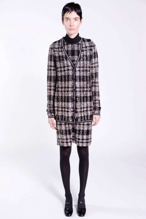 Plaid Shimmer Sequin Cardigan - Anna Sui