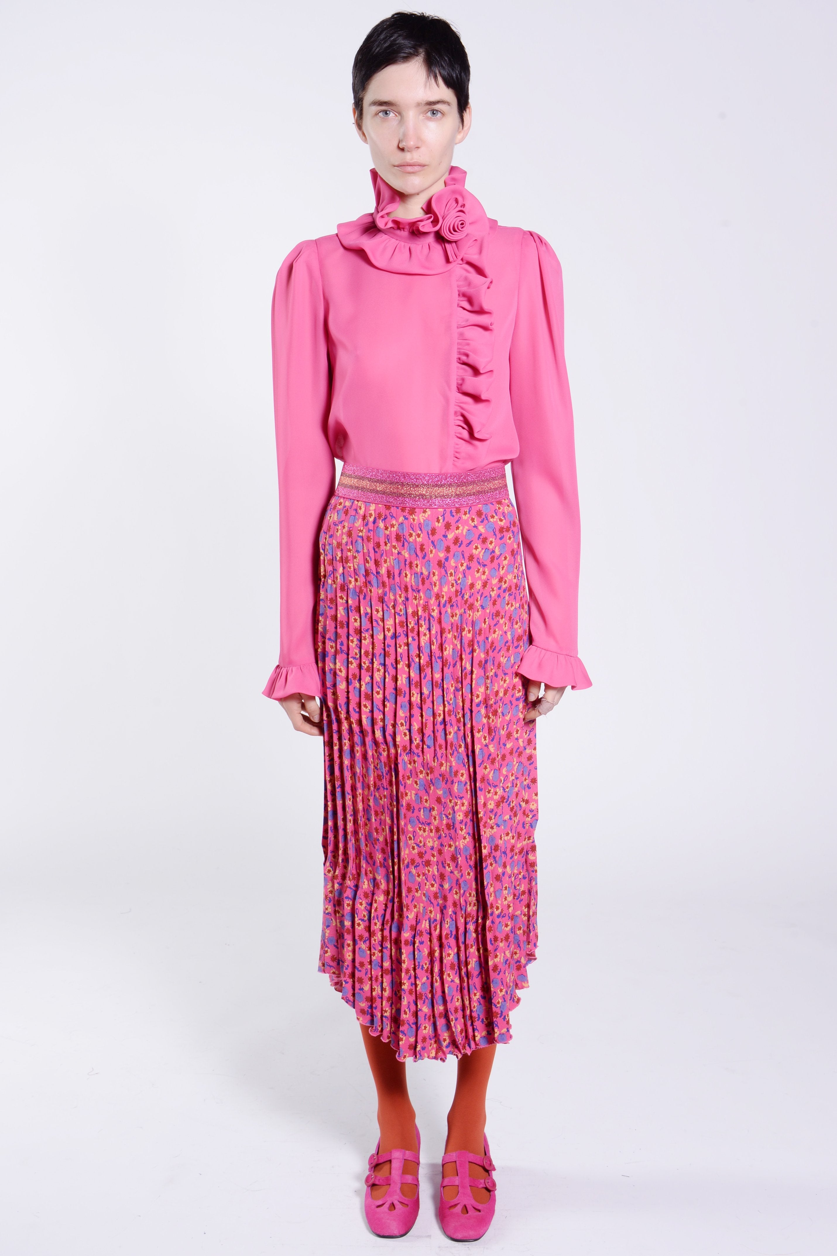 Carnation Crepe Pleated Skirt - Anna Sui