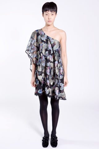 Midnight Shadows Floral Jacquard Slip Dress