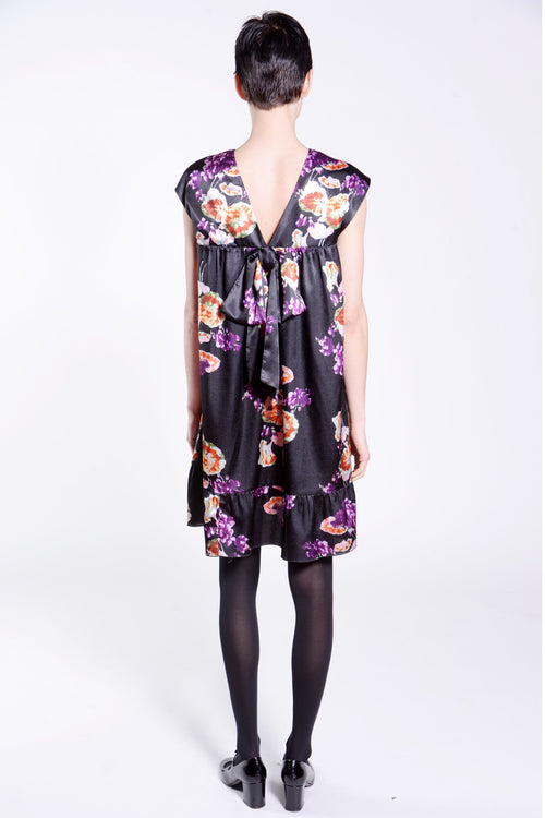 Gathering Geraniums Satin Dress - Anna Sui