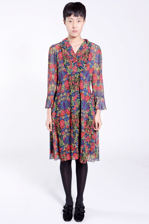 Kaleidoscope Stripes Crepe Shirtdress - Anna Sui
