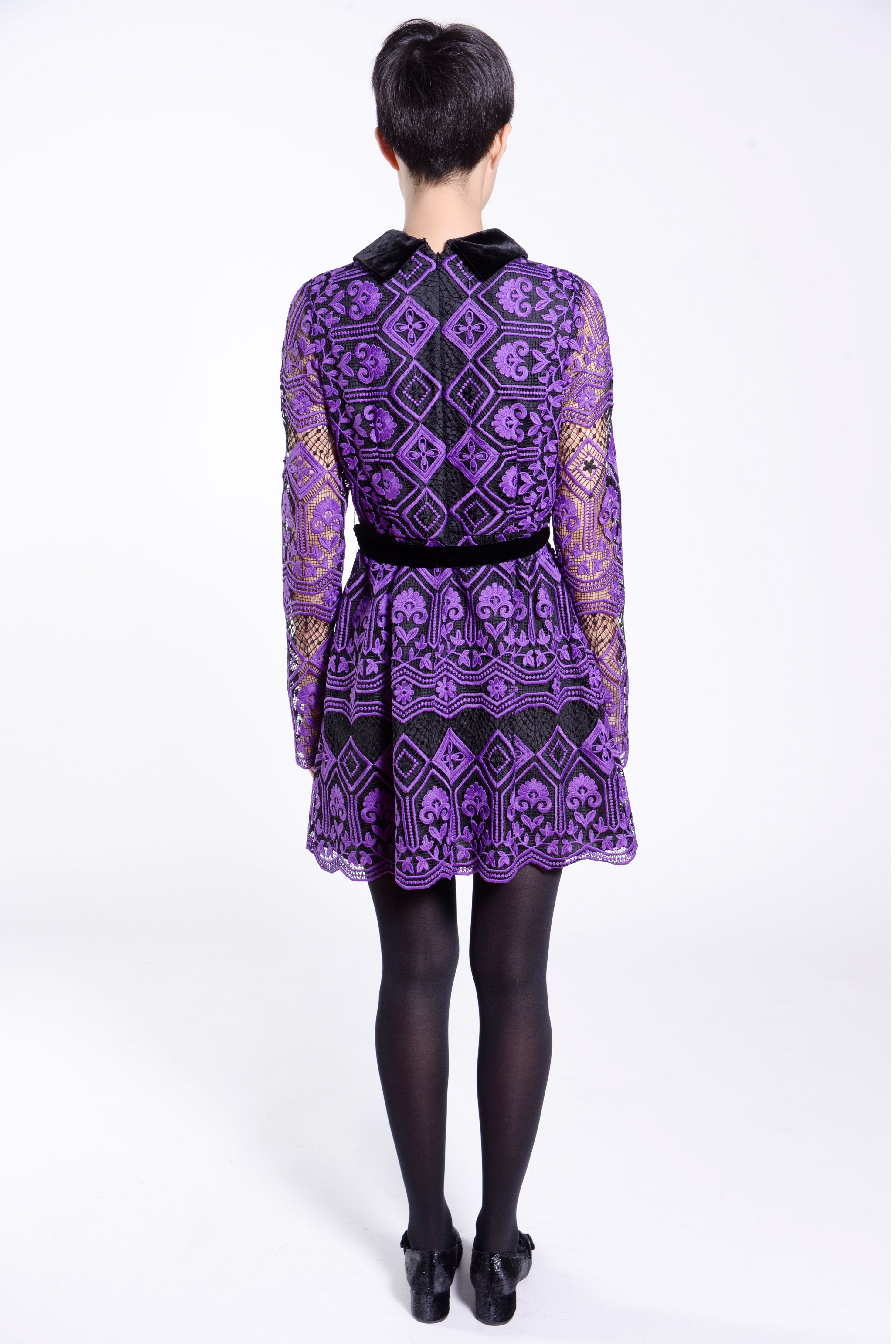 Latticework Lace Belted Dress - Anna Sui