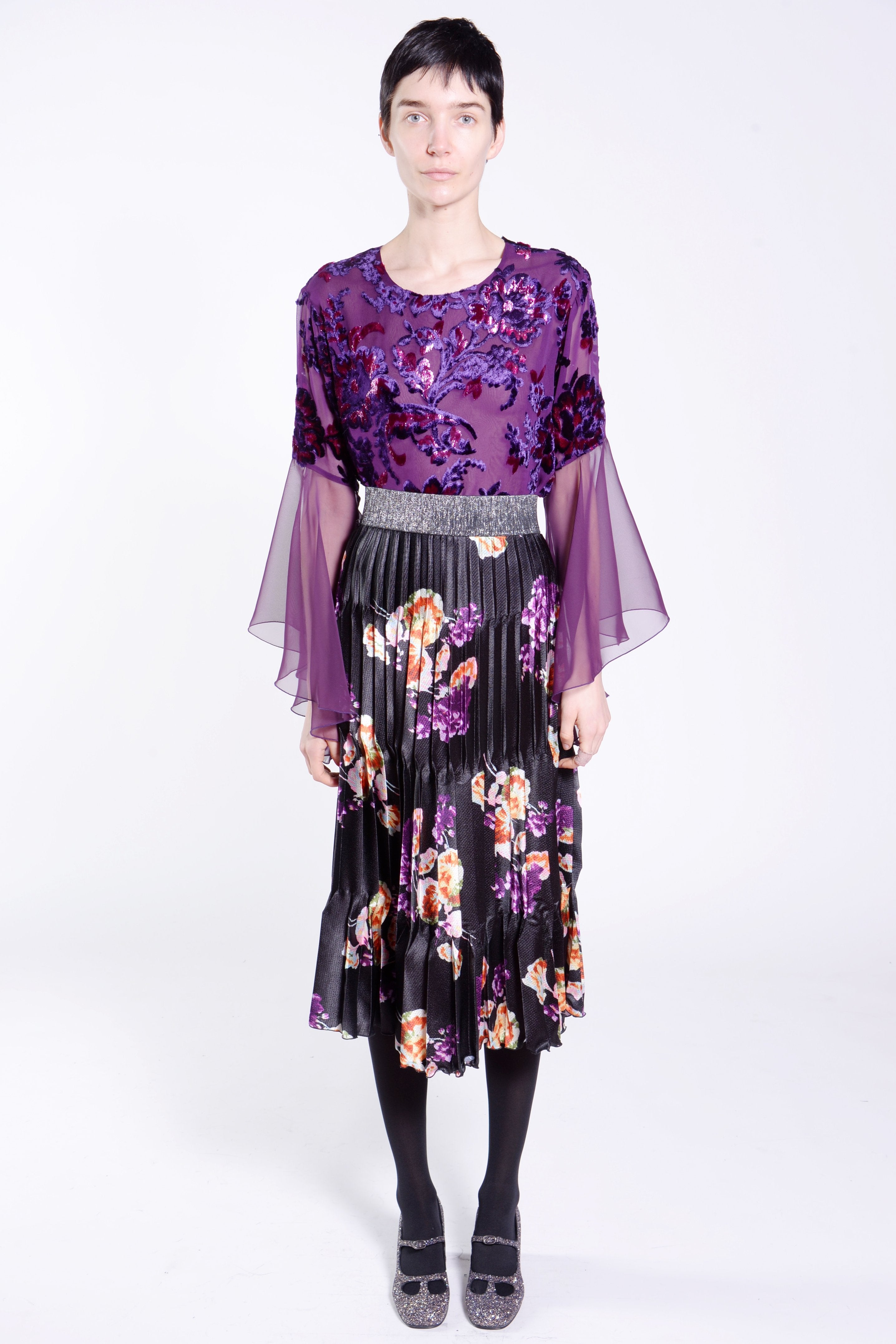 Gathering Geraniums Satin Pleated Skirt - Anna Sui