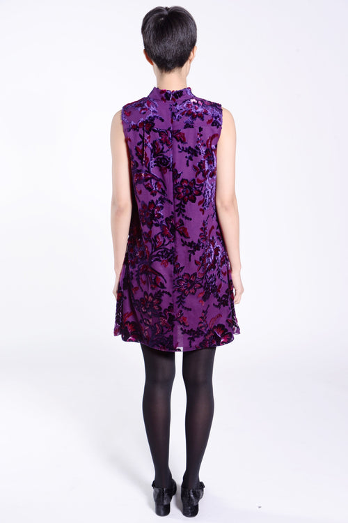 Jewel Tone Velvet Metallic Jacquard Sleeveless Dress - Anna Sui