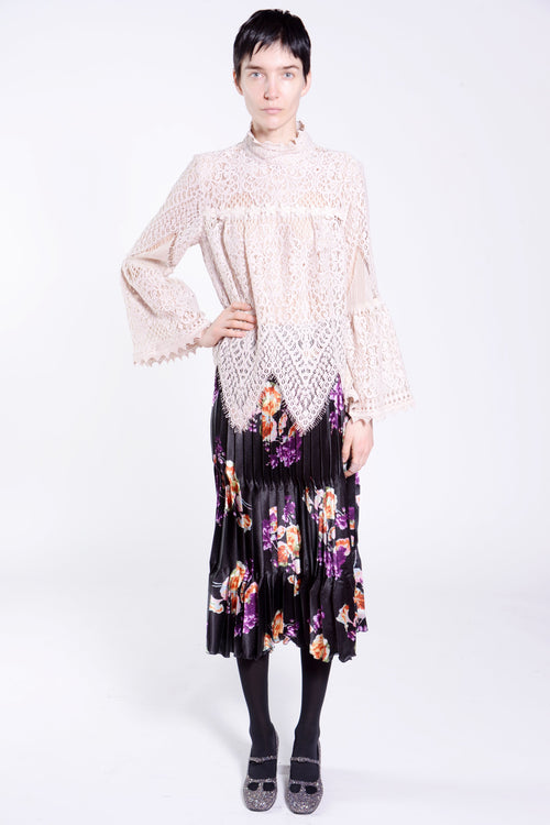 Scalloped Lace High-Neck Top - Anna Sui