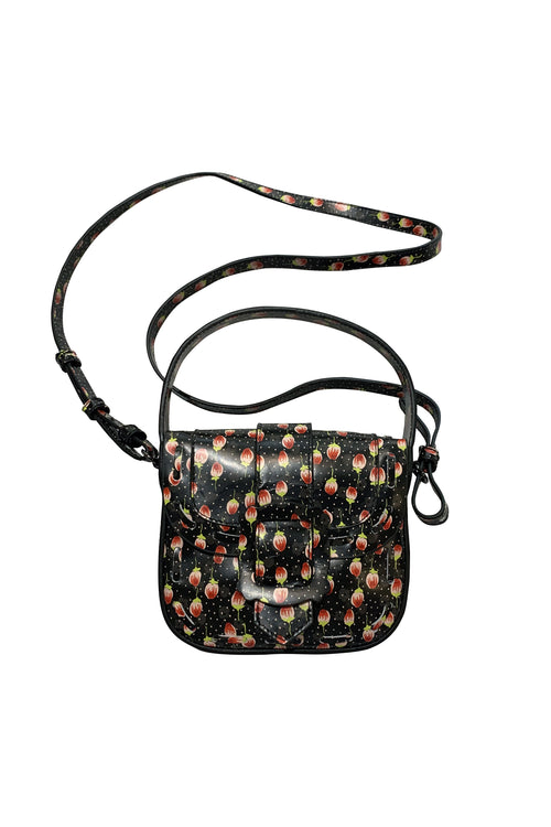 Devon Top Handle Bag <br> Black Dot Rosette Leather - Anna Sui