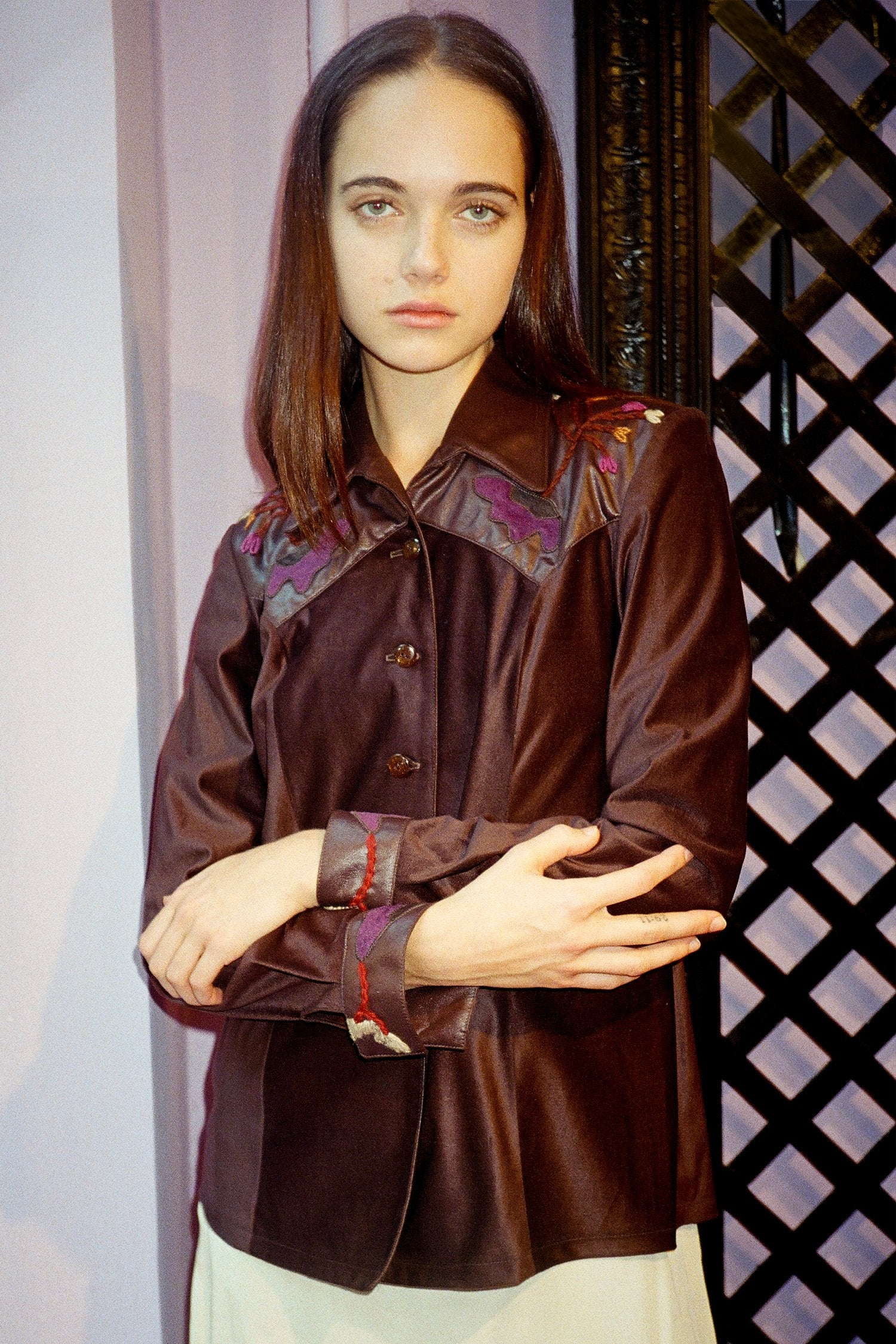 Vintage Brown Ultra Suede Shirt <br> Fall 1996 - Anna Sui