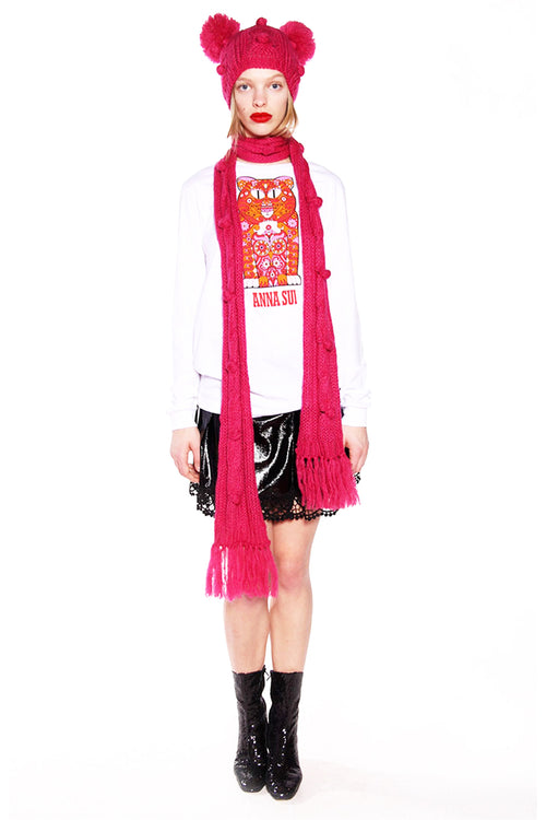 James Coviello for Anna Sui <br>Bobble and Cable Knit Scarf</br>
