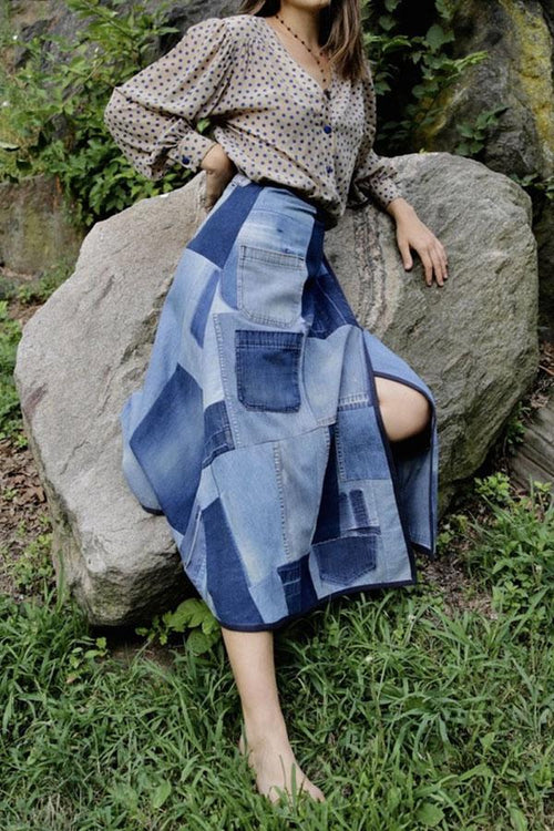 NOMAD VINTAGE <br> Denim Patchwork Wrap-Skirt - Anna Sui
