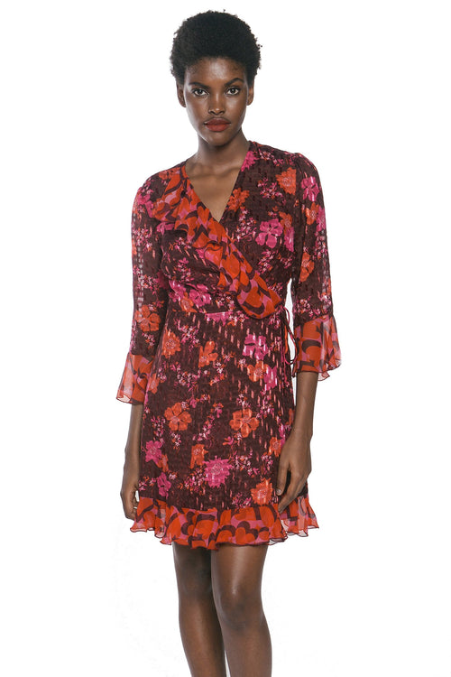 Scattered Flowers Clipped Jacquard Dress - Anna Sui