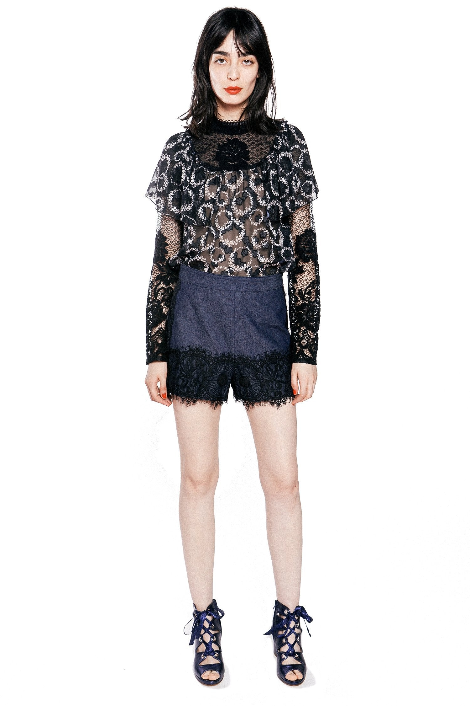 b64d92f01e1ce Denim and Lace Short – Anna Sui