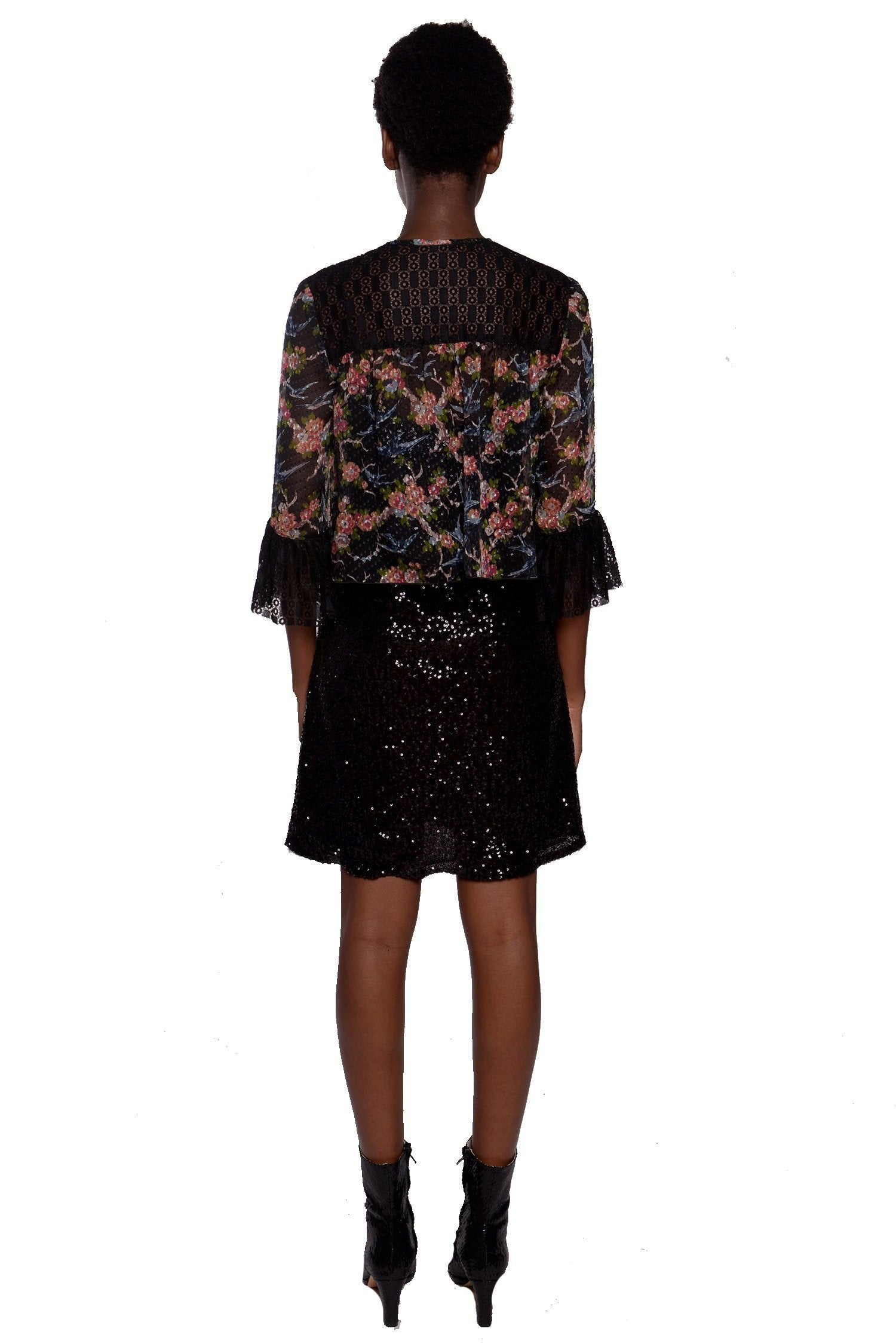 Birds in the Garden Clipped Jacquard & Lace Jacket
