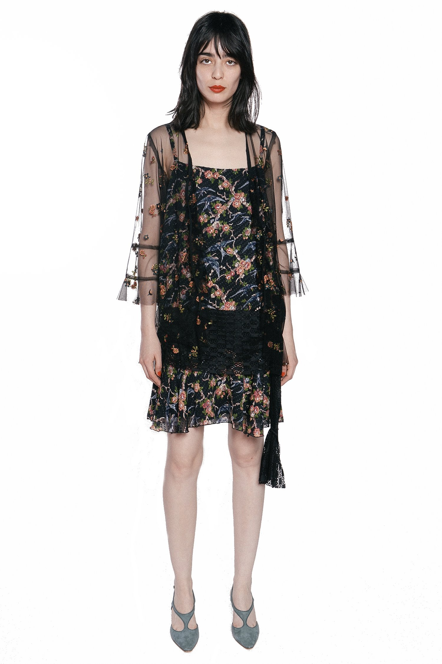 Birds in the Garden Clipped Jacquard & Lace Dress - Anna Sui