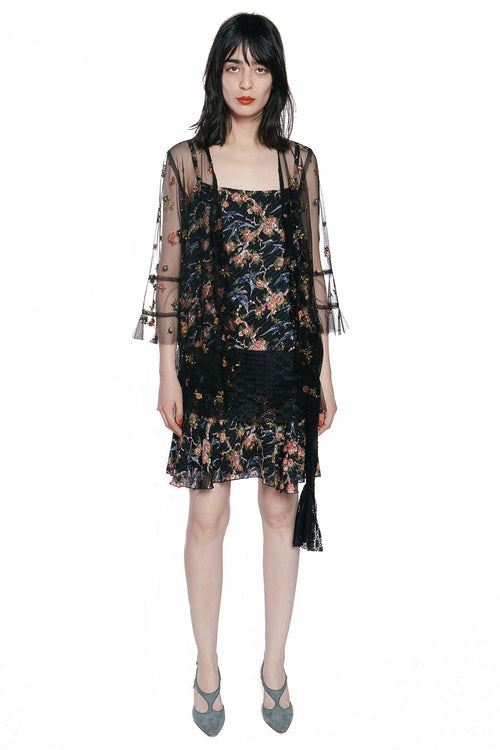 Birds in the Garden Clipped Jacquard & Lace Dress