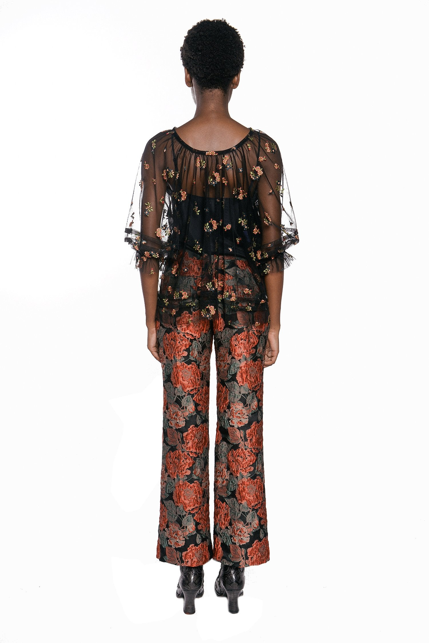 Embroidered Flower Tulle Top - Anna Sui