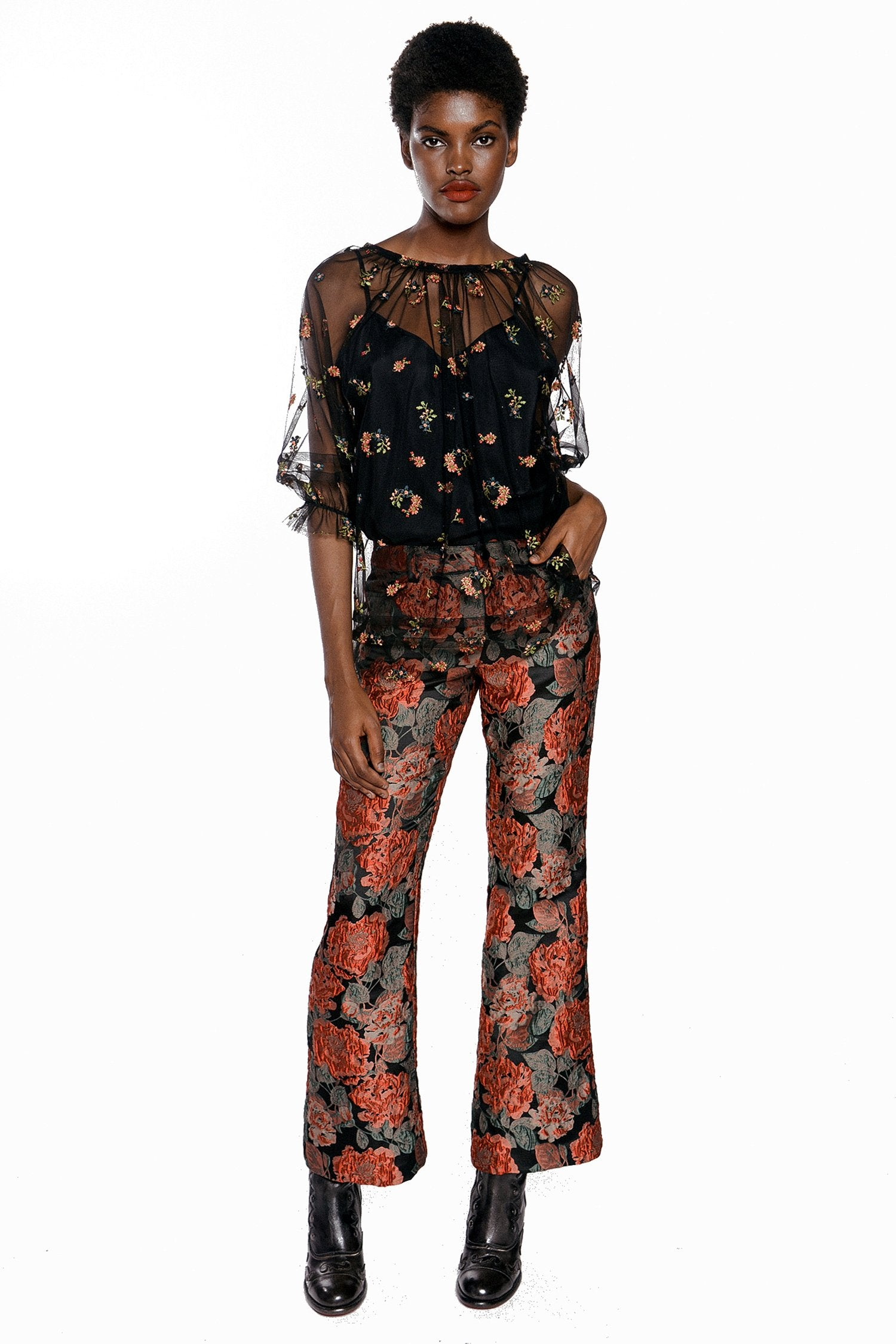 Embroidered Flower Tulle Top