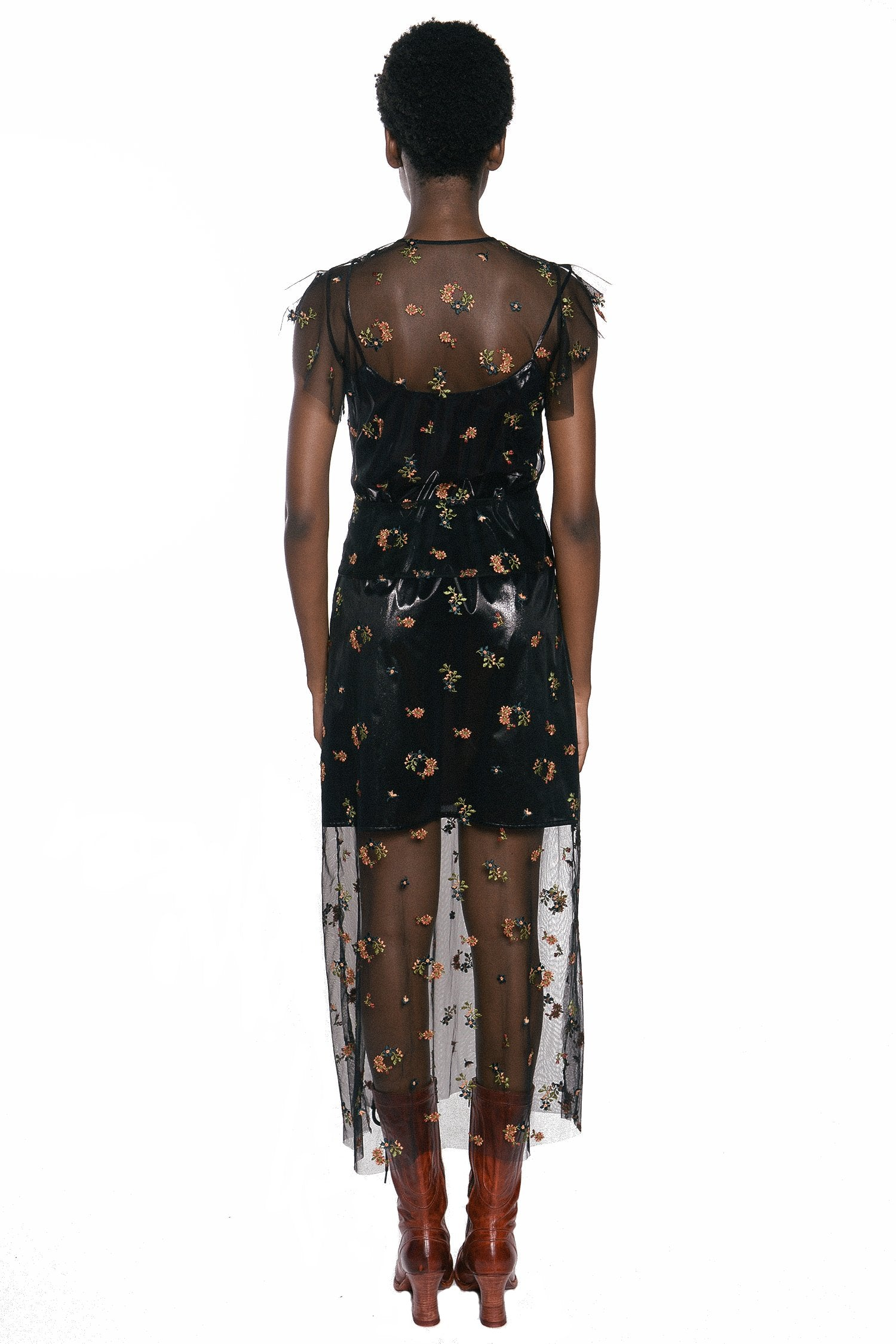 Embroidered Flower Tulle Dress - Anna Sui