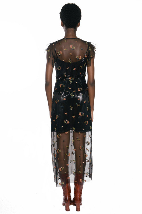 Embroidered Flower Tulle Dress