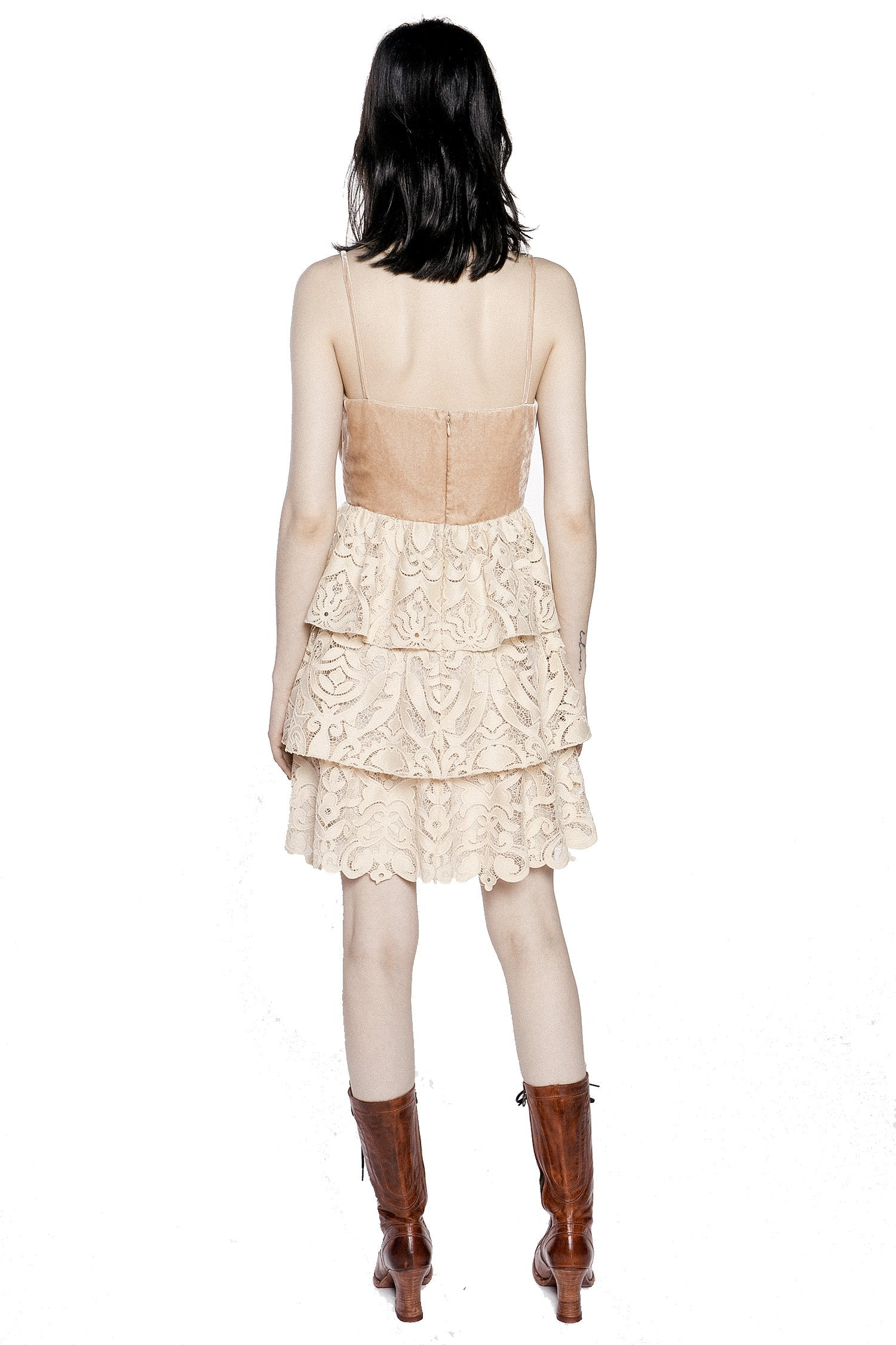 Baroque Lace & Velvet Dress - Anna Sui