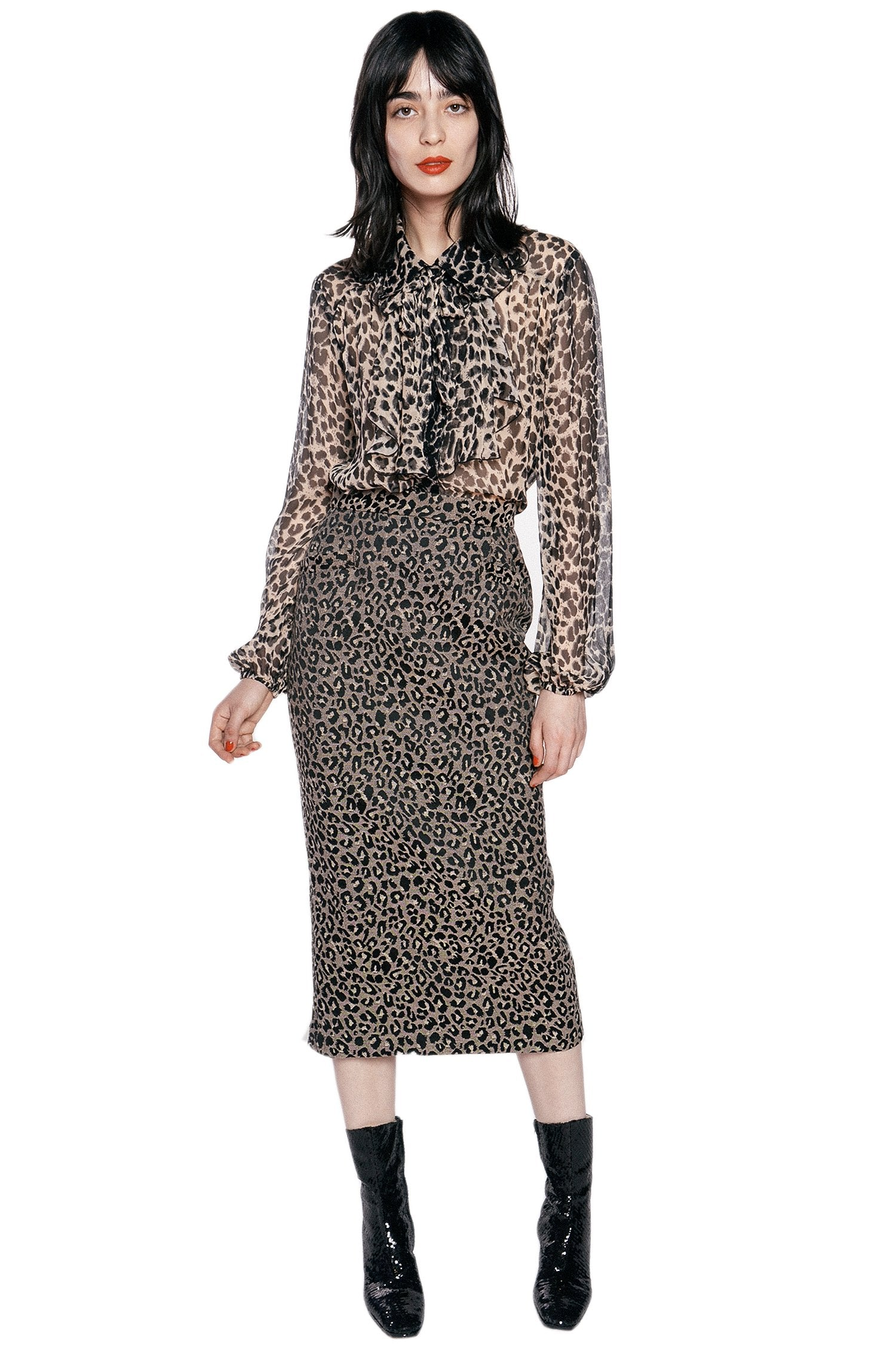 Leopard Crinkle Chiffon Top - Anna Sui