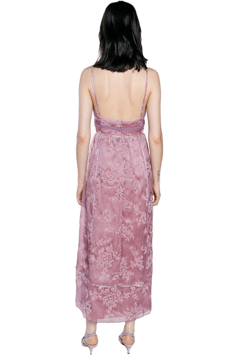 Flocked Crinkle Organza Maxi Dress - Anna Sui