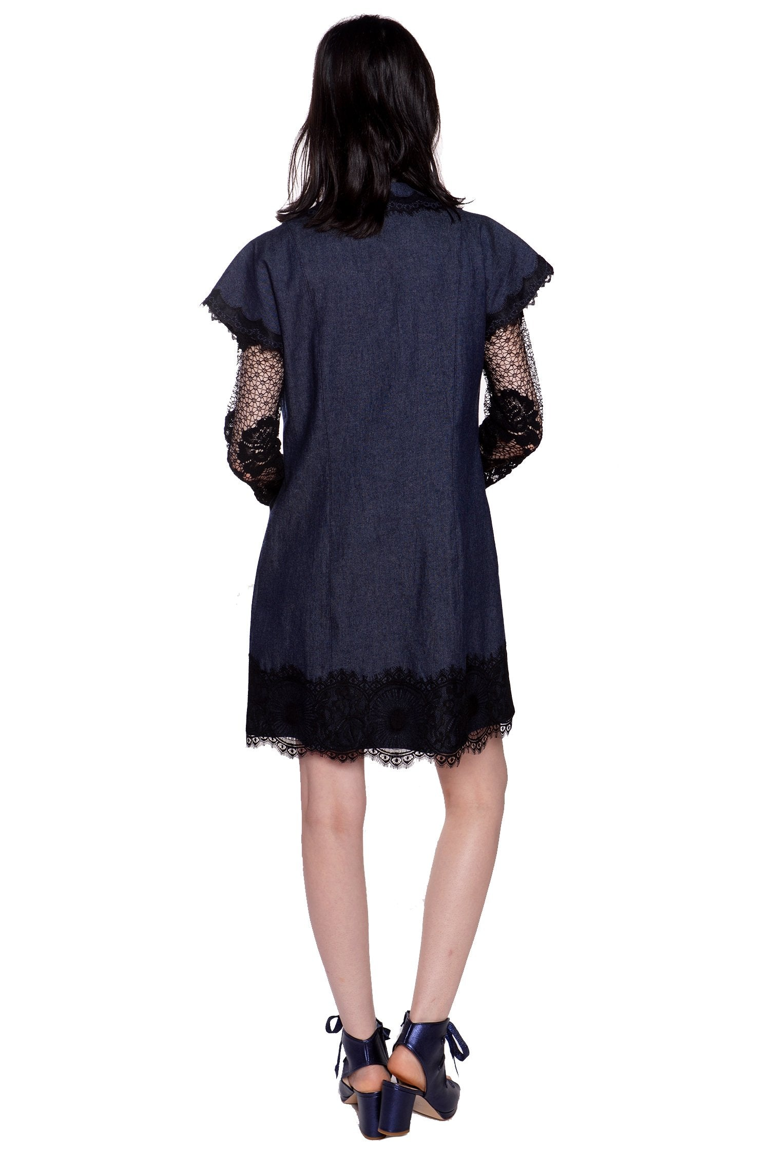 Denim and Lace Button Down Dress - Anna Sui
