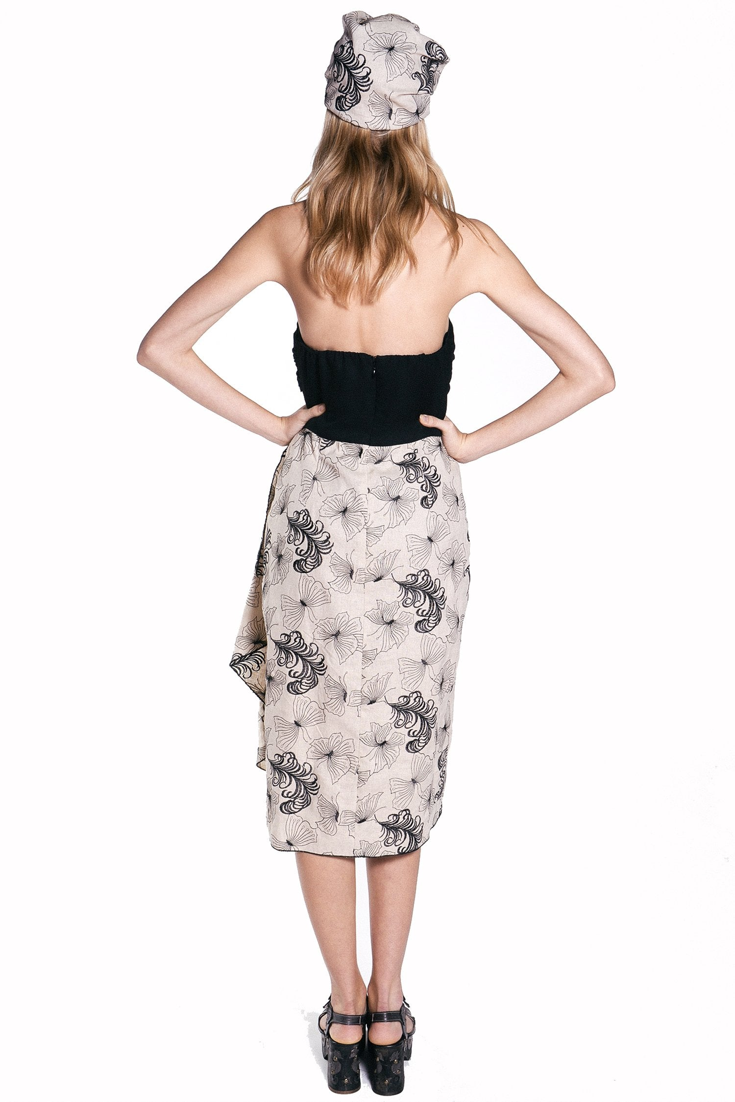 d3a416406d7 Butterfly Feather Embroidered Linen Strapless Dress – Anna Sui