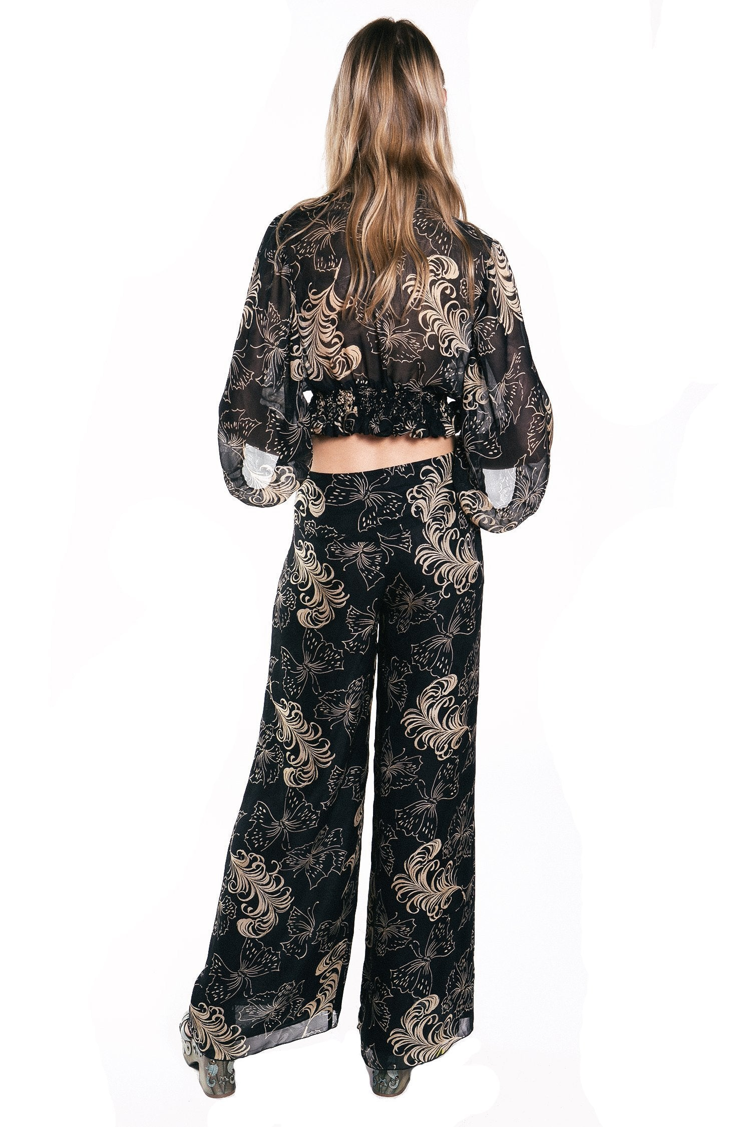 Butterfly Feather Silk Mesh Jacquard Pant