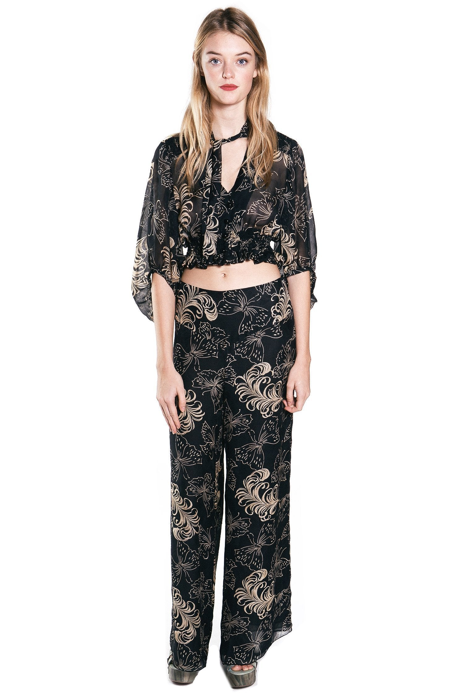Butterfly Feather Silk Mesh Jacquard Flared Top - Anna Sui