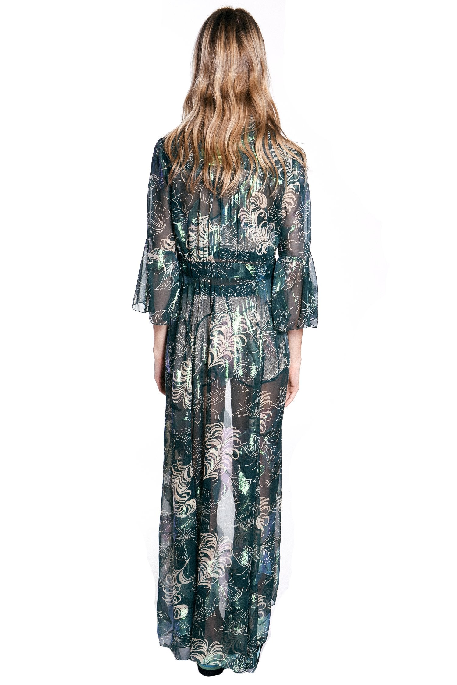 Butterfly Feather Lurex Jacquard Duster - Anna Sui