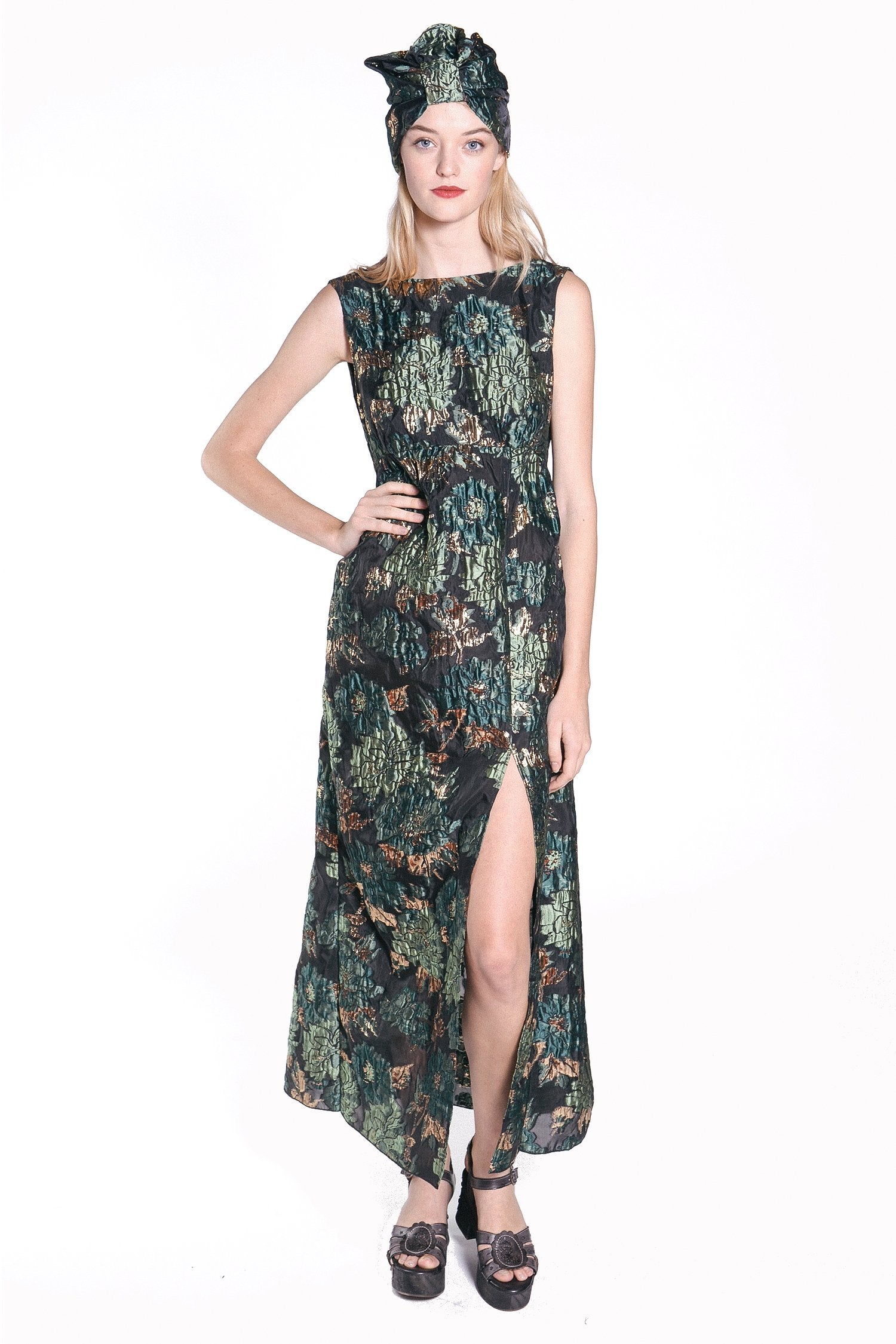 Malachite Peonies Lurex Dress - Anna Sui