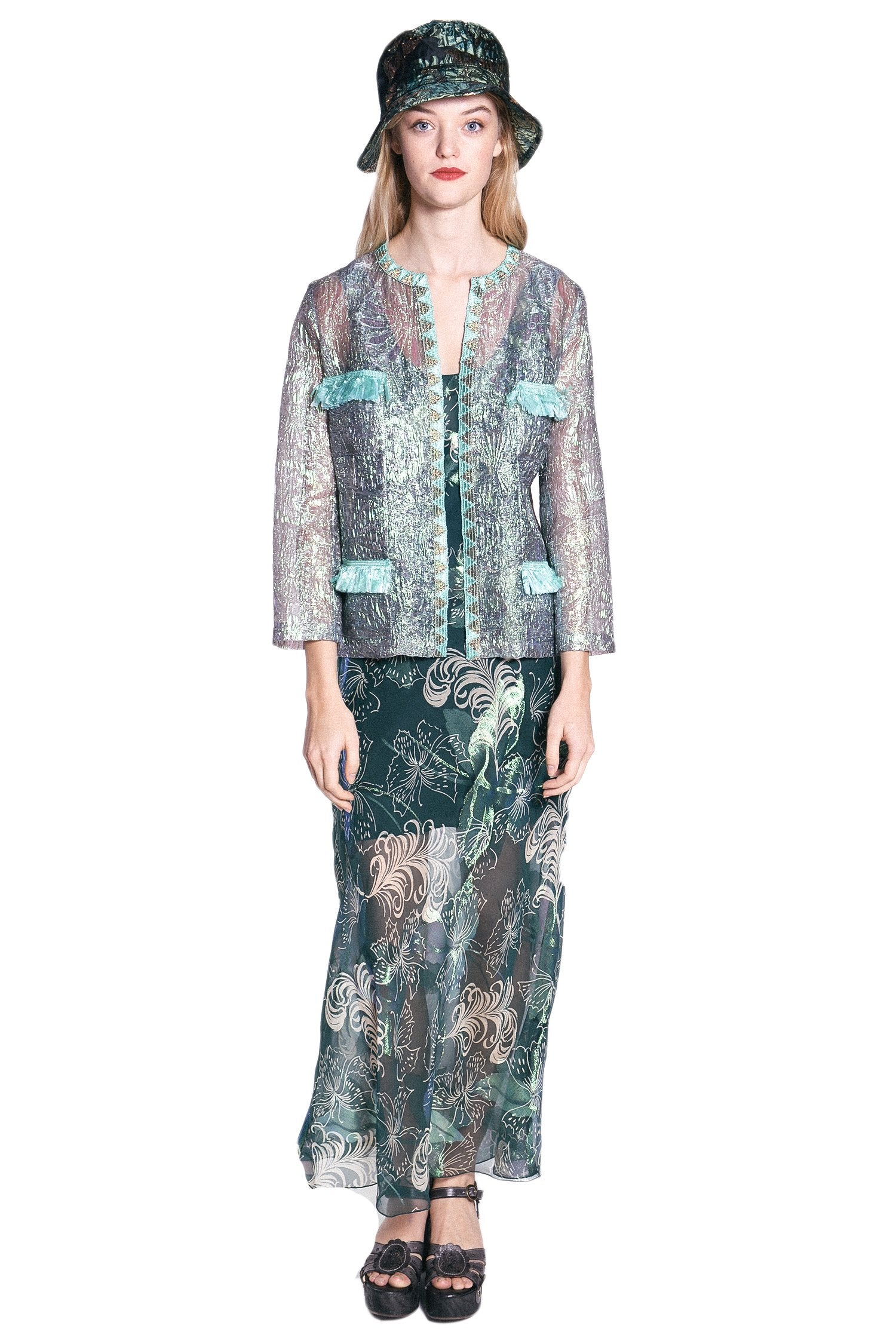 Mother of Pearl Iridescent Jacquard Jacket - Anna Sui