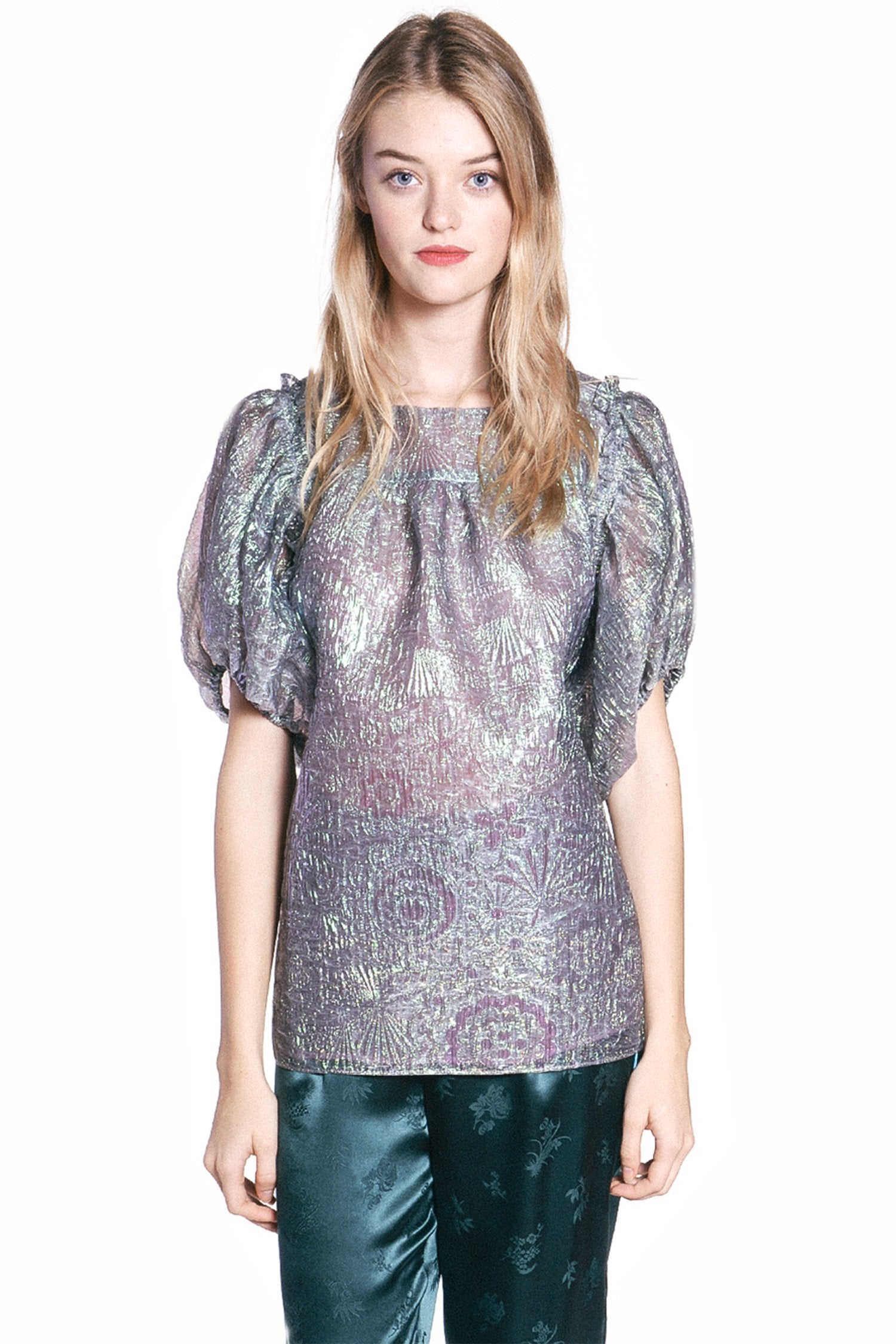 Mother of Pearl Iridescent Jacquard Top - Anna Sui