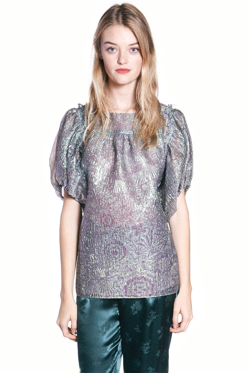 Mother of Pearl Iridescent Jacquard Top