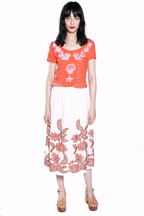 Flora Embroidered Voile Skirt