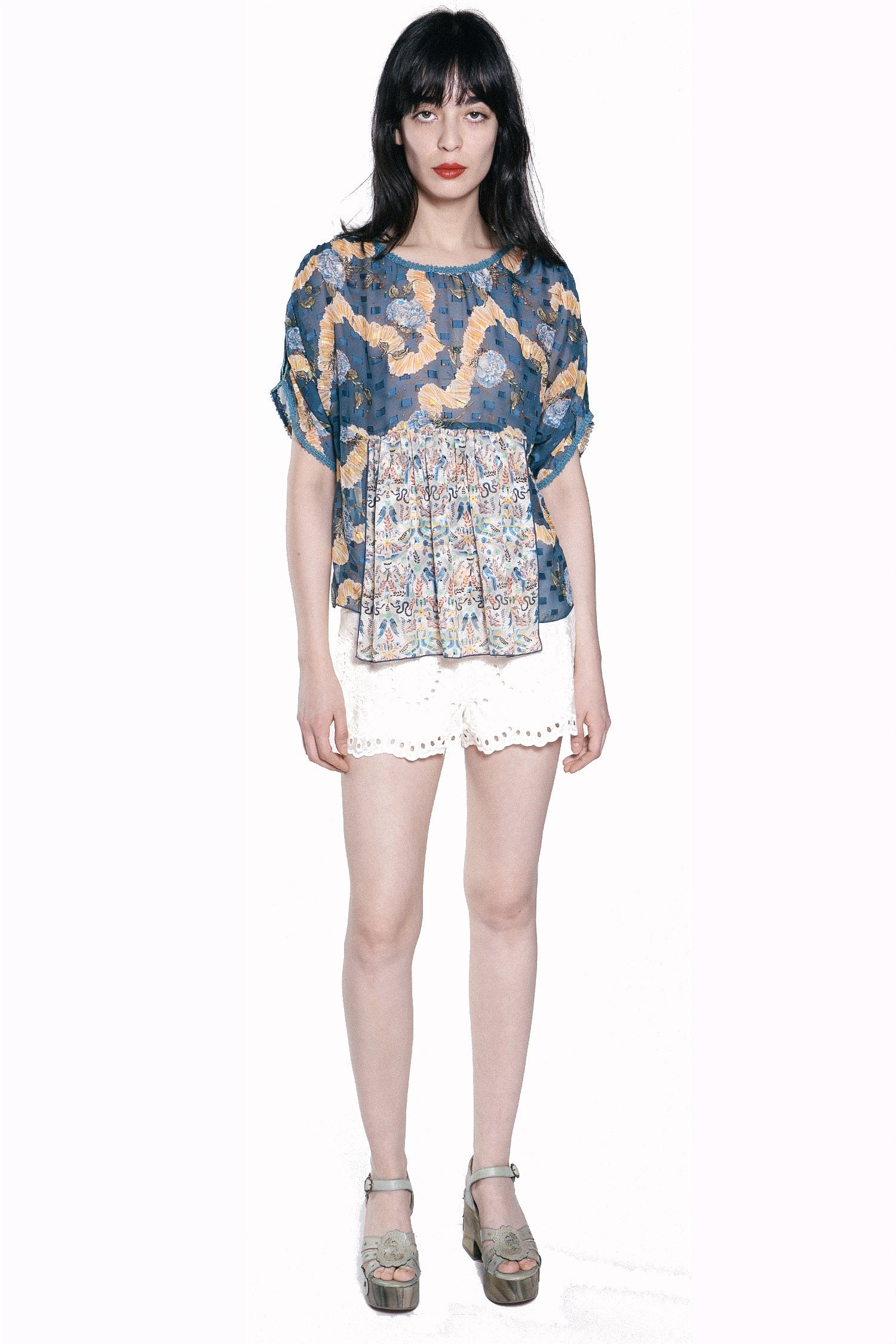 Ribbons & Roses Clipped Jacquard Top - Anna Sui