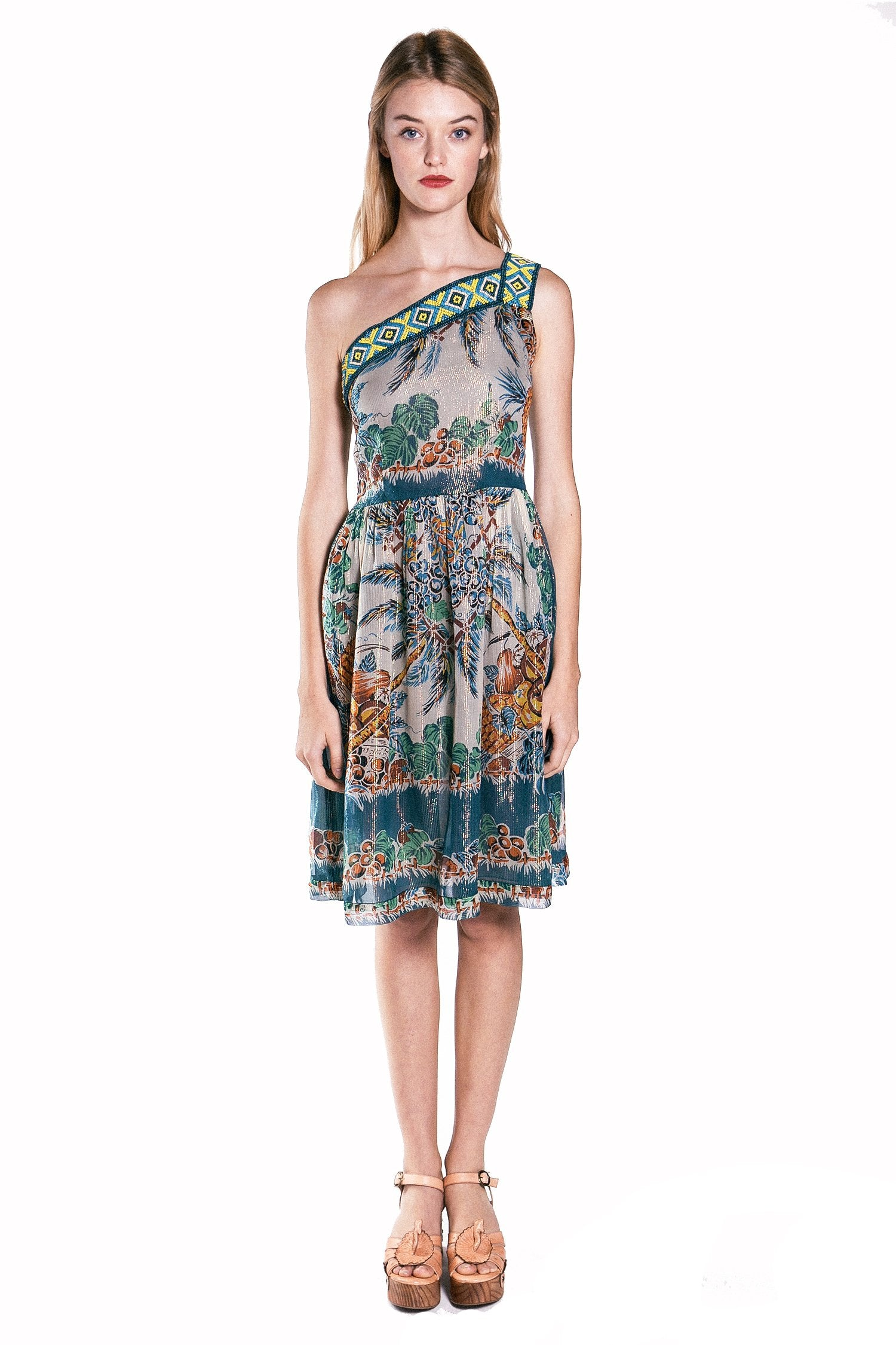 Tropical Fruit Medley One Shoulder Dress - Anna Sui