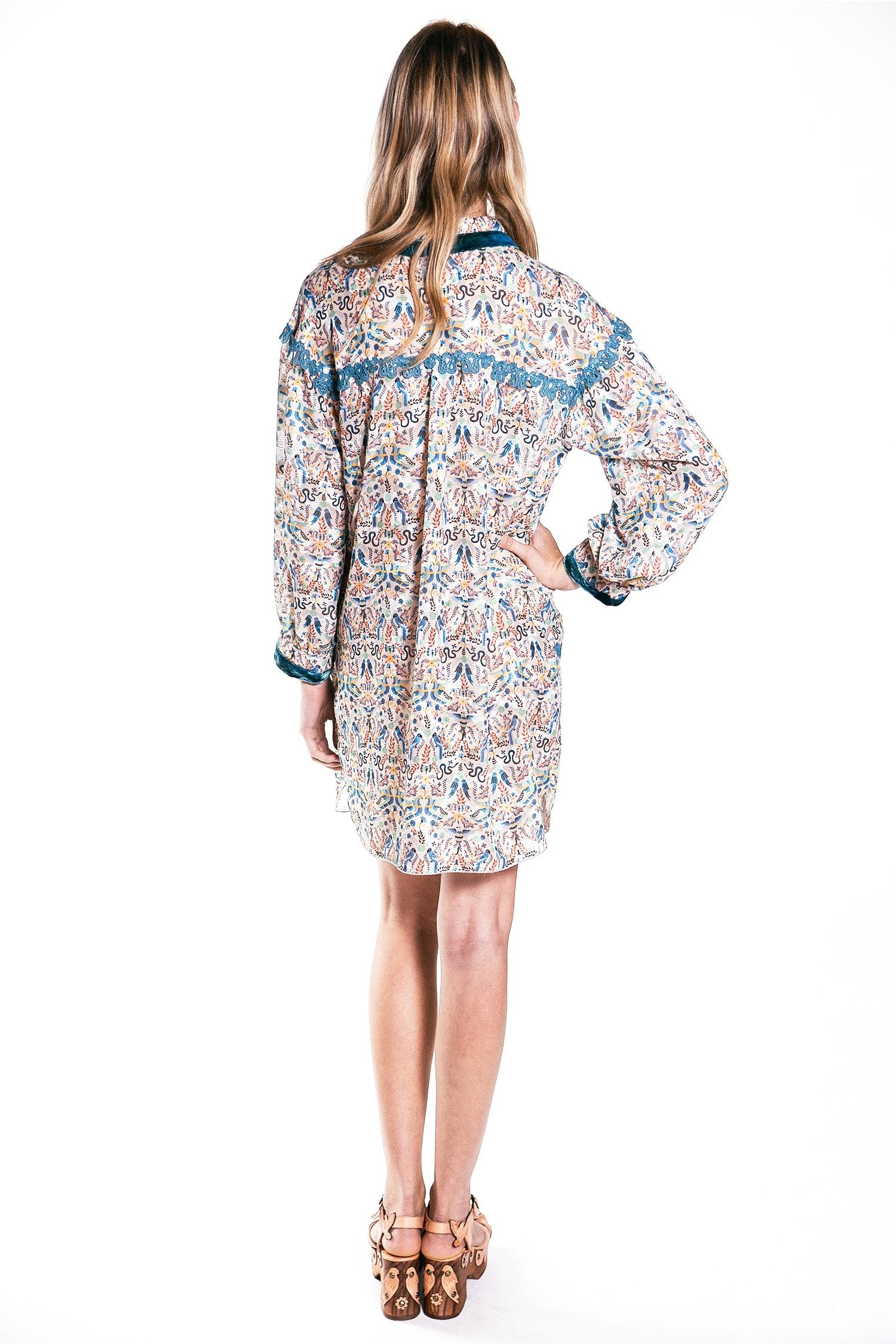 Garden of Eden Clipped Jacquard Shirt Dress - Anna Sui