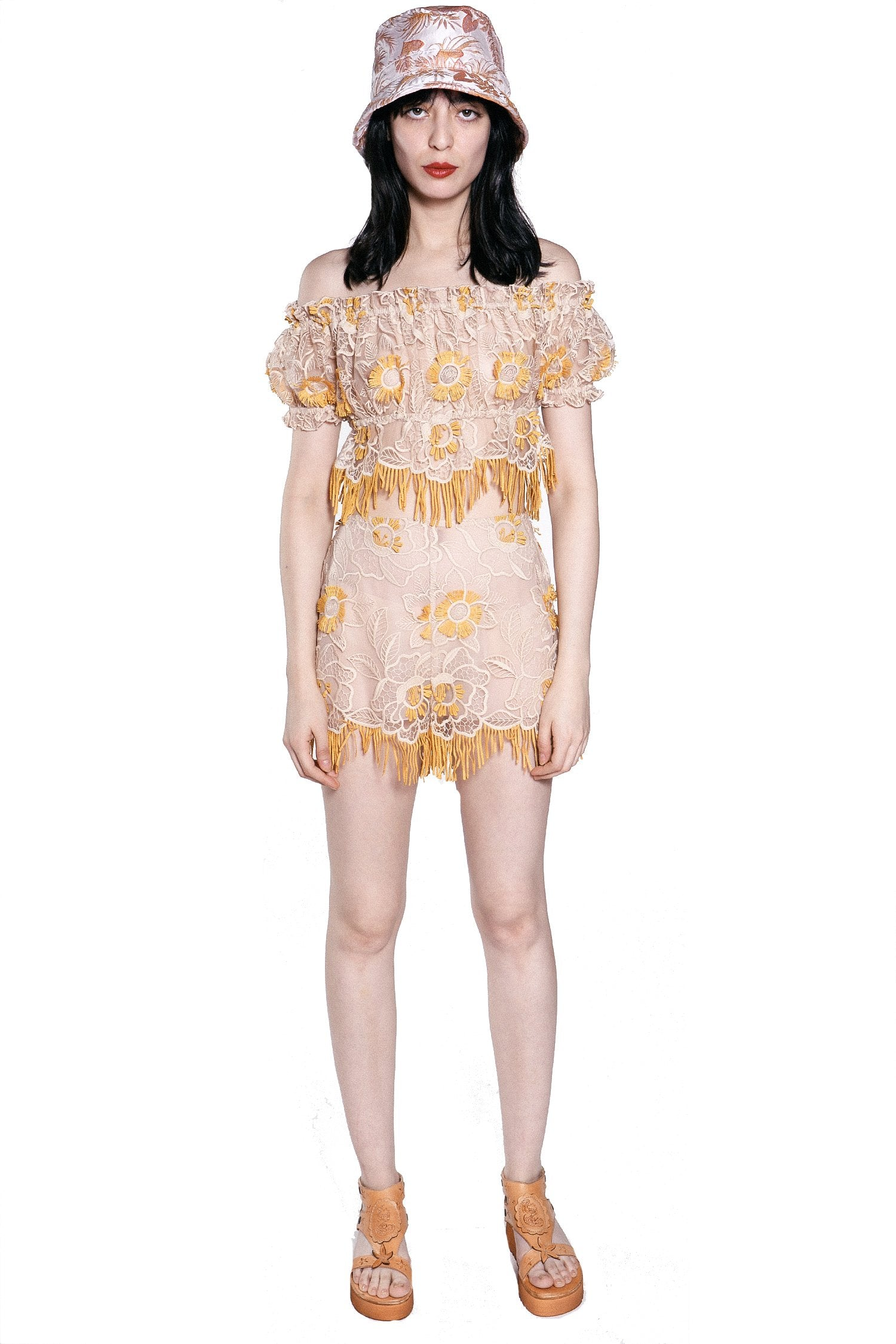 Lotus Flower Embroidered Shorts - Anna Sui
