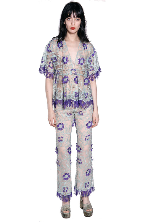 Lotus Flower Embroidered Short-Sleeve Top