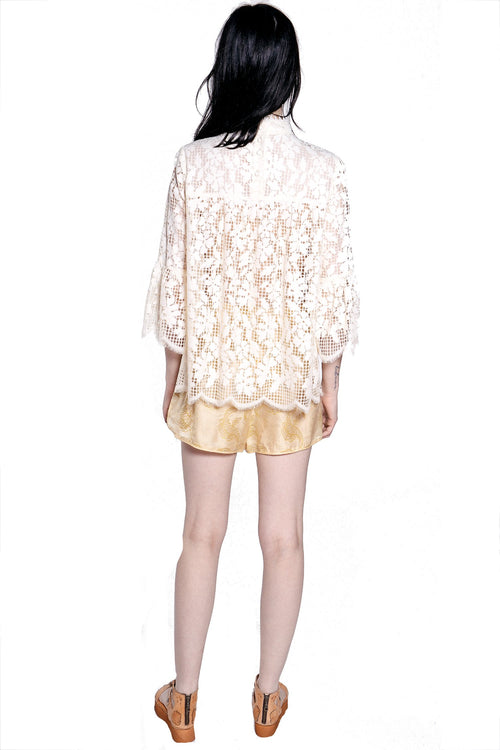 Climbing Orchids Lace High-Neck Top - Anna Sui