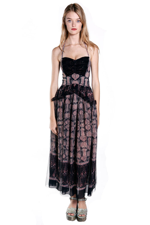 Paisley Border Crinkle & Tulle Maxi Dress