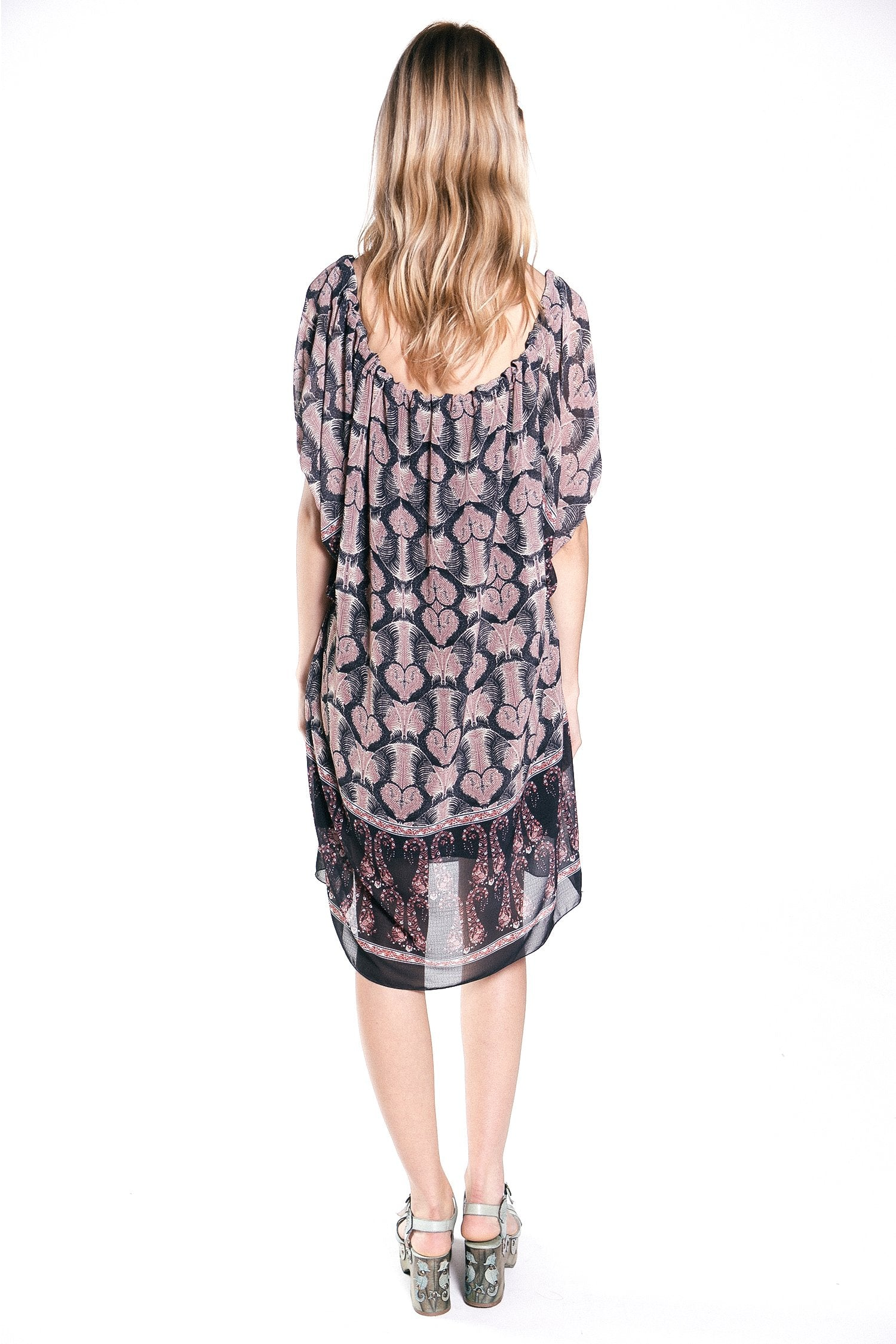 Paisley Border Crinkle Pouf-Sleeve Dress