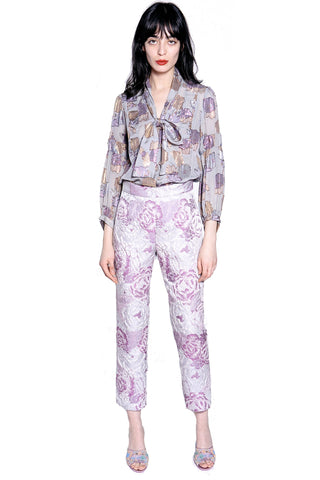 Rose Garland Crepe & Satin Stripe Pant