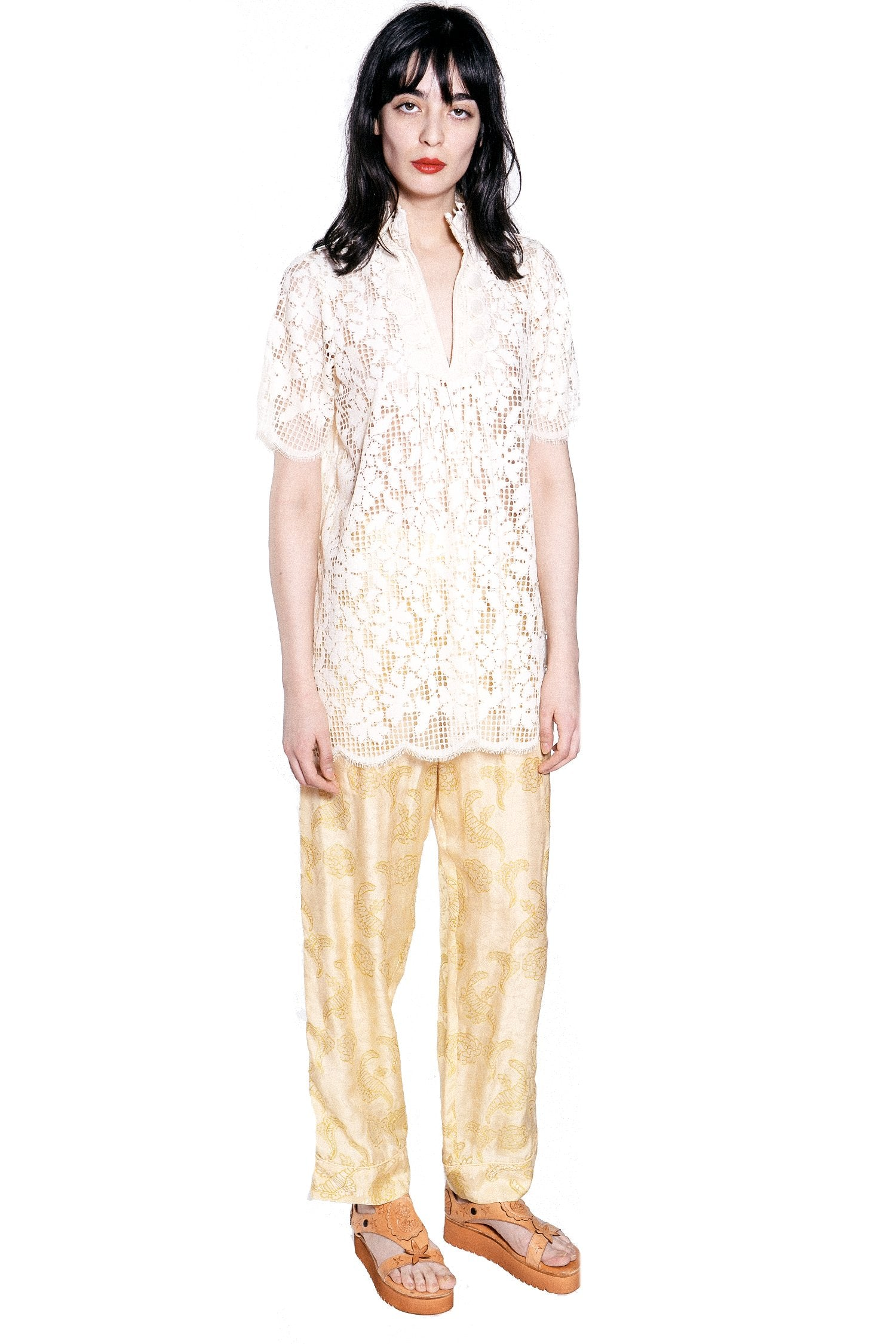 Climbing Orchids Lace Short-Sleeve Top - Anna Sui