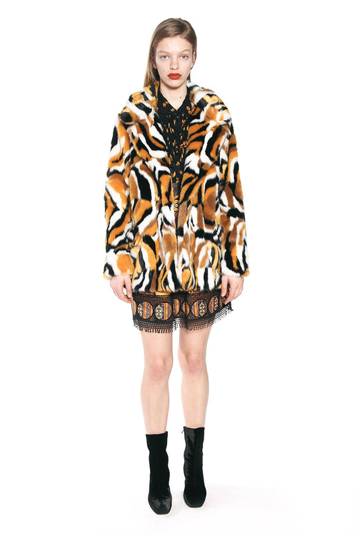 Marbled Tigress Faux Fur Coat