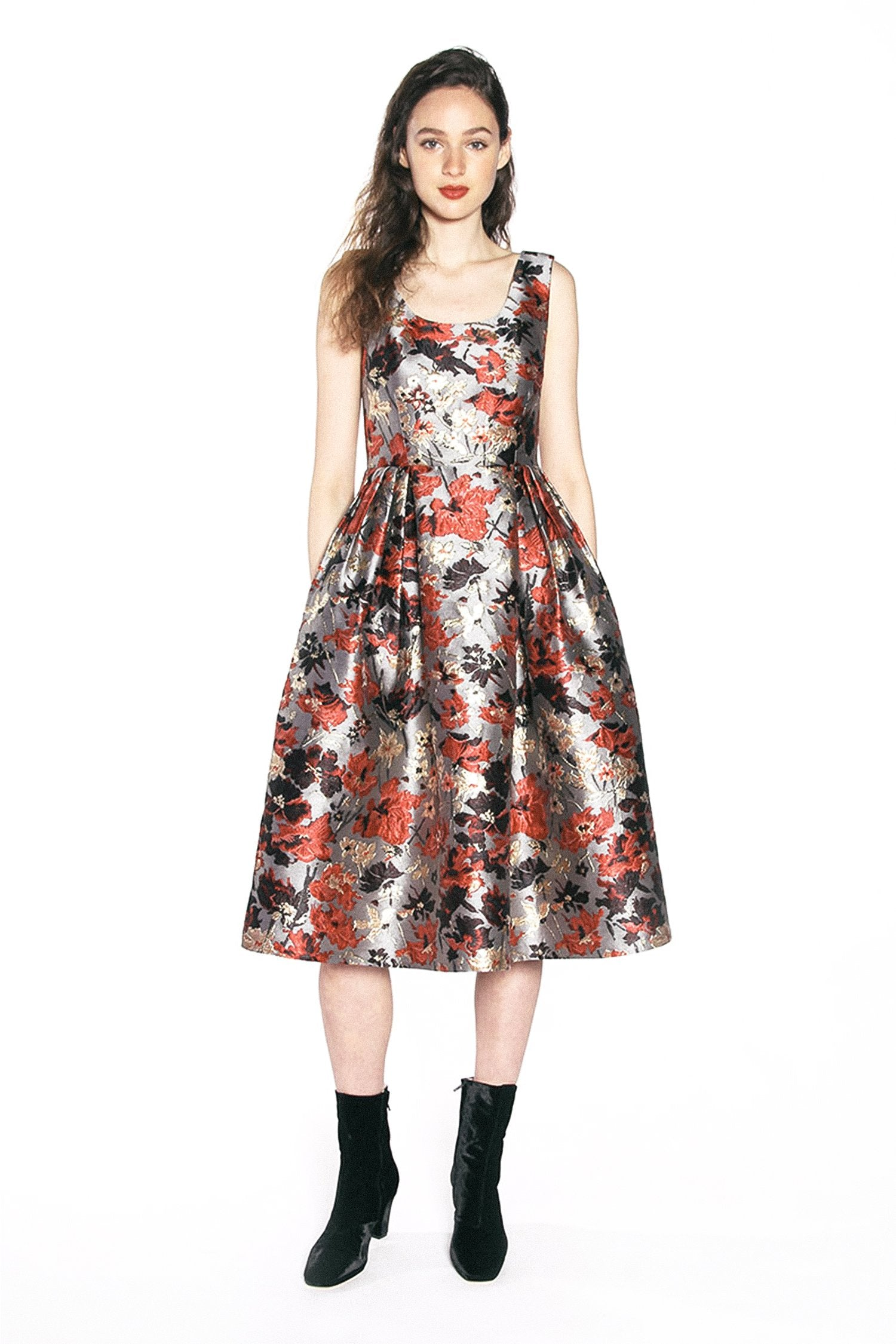 Scattered Flowers Metallic Brocade Dress